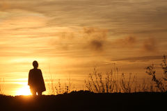 Orange solnedgångsky Arkivbild
