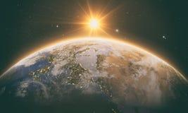 Orange soluppgång över jord royaltyfri illustrationer