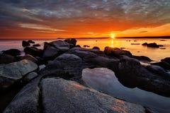 Orange soluppgång Arkivfoto