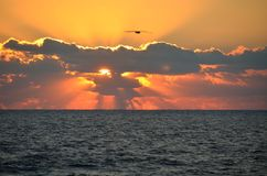 Orange soluppgång och cloudscape över havet Arkivfoton