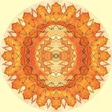 Orange Sonne des nahtlosen Musters des Digital-Kunstdesigns auf Gelb Lizenzfreie Stockbilder