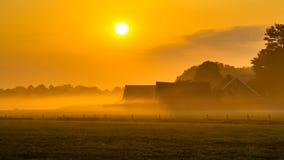 Orange Sonnenaufgang über niederländischer Landschaft Lizenzfreie Stockfotos