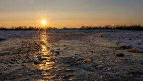 Orange Sonnenuntergang über Ackerland Stockfotografie