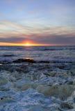 Orange Sonnenuntergang über Ozean Lizenzfreie Stockfotografie