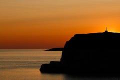 Orange Sonnenuntergang über West-Schweden Stockfotos