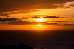 Orange Sonnenuntergang auf Meer Lizenzfreies Stockbild