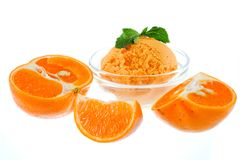 Orange Sorbet. With white background Royalty Free Stock Photo