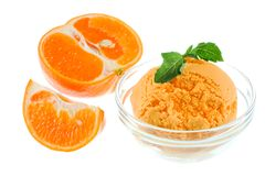 Orange Sorbet. With white background Royalty Free Stock Photos