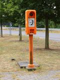 Orange SOS Highway Emergency Rescue Telephone Post. Orange European Highway Emergency Rescue Telephone Post Closeup Royalty Free Stock Images