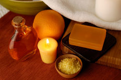 Orange Spa. Accessories Royalty Free Stock Photography