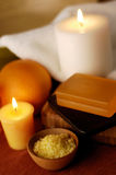 Orange spa. With bamboo accessories Royalty Free Stock Photos