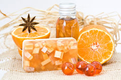 Orange spa products Stock Photography