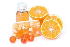 Orange spa products Royalty Free Stock Photo
