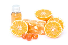 Orange spa products Royalty Free Stock Photos