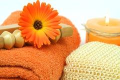 Orange spa tools stock photography