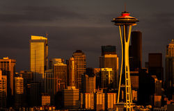 Orange Space Needle. Sunset from kerry park, Seattle, USA Royalty Free Stock Image