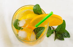Orange and sparkling water drink. In a glass Stock Images