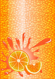 Orange sparkling water. Vector illustration Royalty Free Stock Photos