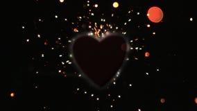 Orange sparks flying against heart Stock Photography