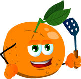 Orange with a spatula Stock Photography