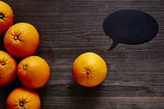 Orange with speech bubble has a message. Creative communication healthy lifestyle Stock Photos