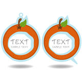 Orange speech bubble and price tag  Stock Images