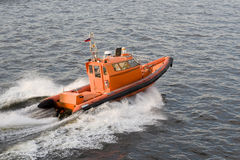 Orange speed-boat Royalty Free Stock Image