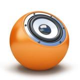 Orange sphere speaker Stock Photos