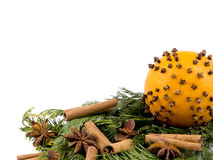 Orange with spices and thuja branches Stock Photo
