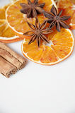 Orange and spices on white background Royalty Free Stock Images