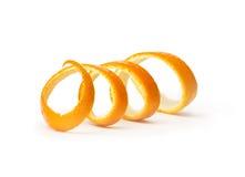 Orange spiral peel. Isolated on white background stock image