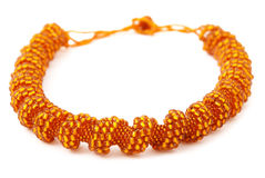 Orange Spiralling Beaded Neckwear, Traditionally African Royalty Free Stock Images
