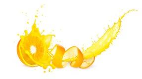 An orange splash. concept of orange with juice, isolated on white background royalty free stock photo