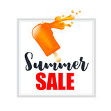 Orange splash ice cream bar with text summer sale isolated on th Stock Photo