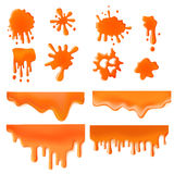 Orange splash spot of paint design vector concept icon set. Orange Liquid splash spot of paint design vector template concept icon set. Caramel sweet color Royalty Free Stock Photography