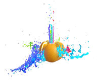 Orange with splashes. Explosion aplesina colored spray. made in 3D stock illustration