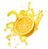 Orange splashing in liquid Royalty Free Stock Images