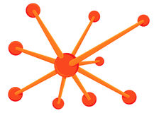 Orange spoke and hub. Jack illustration as metaphor for connection or networking Royalty Free Stock Photo