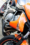 Orange sport bike Stock Photo