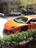Orange Sportauto Stockfotografie
