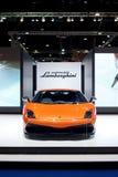 Orange Sportauto Lamborghinis Galardo auf Anzeige Stockfoto