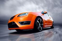 Orange sports car Stock Photos