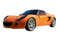 Orange Sports Car. Full front/side view of orange sports car Stock Photo