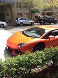 Orange sports car Stock Photography