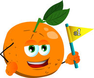 Orange sports fan with flag Royalty Free Stock Images