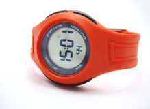 Orange Sports Watch. Over white background Stock Photography
