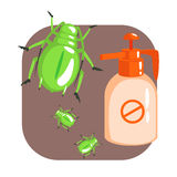 Orange sprayer bottle of green longhorn beetle insecticide. Colorful cartoon illustration Royalty Free Stock Images