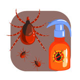 Orange sprayer of mite or tick insecticide and tick parasite. Colorful cartoon illustration Royalty Free Stock Images