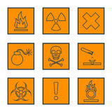 Orange square black outline hazardous waste symbols warning sign. Vector orange square black outline hazardous waste symbols warning signs icons Stock Photography