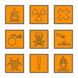 Orange square black outline hazardous waste symbols warning sign Stock Photography